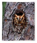 Reddish Screech Owl Fleece Blanket