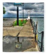 Reflecting At The Erie Basin Marina Fleece Blanket