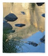 Reflecting Peaks In The Merced River Fleece Blanket