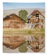 Reflection Of An Old Building Fleece Blanket