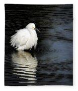 Reflections Of An Egret  Fleece Blanket