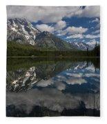 Reflections On Mount Moran Fleece Blanket