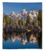 Reflections On Schwabacher Landing Fleece Blanket