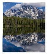 Reflections On String Lake Fleece Blanket