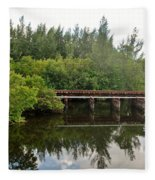 Reflections On The North Fork River Fleece Blanket