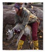 Reindeer Farm Work Fleece Blanket