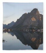 Reine Village In Early Morning Light Fleece Blanket