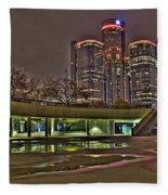 Renaissance Center Detroit Mi Fleece Blanket