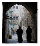 Residents Of Jerusalem Old City Fleece Blanket