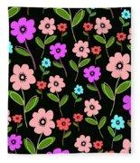 Retro Florals Fleece Blanket