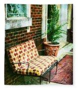 Retro Grunge Sidewalk Bench Seat Fleece Blanket