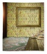 Retro Room Interior Fleece Blanket