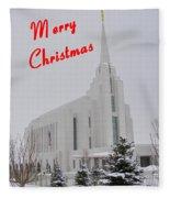 Rexburg Temple In Snow For Chritmas Fleece Blanket