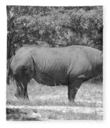 Rhino In Black And White Fleece Blanket