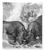 Rhinoceros Fight, 1875 Fleece Blanket