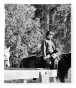 Riding Soldiers B And W II Fleece Blanket