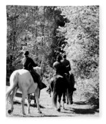 Riding Soldiers B And W Fleece Blanket