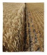 Ripened Wheat And Stubble In Saskatchewan Field Fleece Blanket