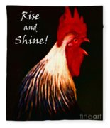 Rise And Shine - Rooster Clucking - Painterly Fleece Blanket