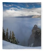 Rising Mists From Crater Lake Panorama Fleece Blanket