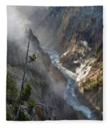 Rising Mists From Grand Canyon Of The Yellowstone Fleece Blanket