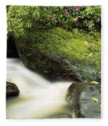 River Flowing Through A Forest, Torc Fleece Blanket