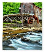 River Rock And A Grist Mill Fleece Blanket