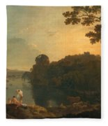River Scene- Bathers And Cattle Fleece Blanket
