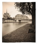 River Seine And Cathedral Notre Dame Fleece Blanket