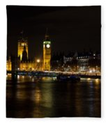 River Thames And Westminster Night View Fleece Blanket