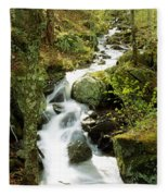 River With Trees In The Forest Fleece Blanket