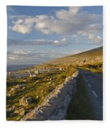 Road Along The Burren Coastline Region Fleece Blanket
