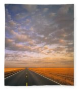 Road Into Sunset Fleece Blanket