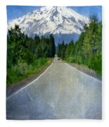 Road Leading To Snow Covered Mount Shasta Fleece Blanket