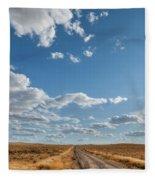 Road Near Ten Sleep Wyoming Fleece Blanket