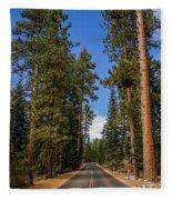Road Through Lassen Forest Fleece Blanket