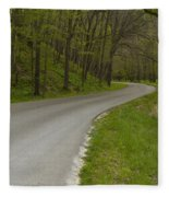 Road Thru Woods Spring 1 Fleece Blanket