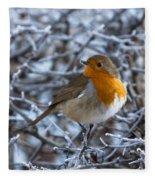 Robin On A Frosty Morning Fleece Blanket
