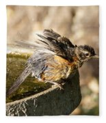 Robin Shaking Water Off Fleece Blanket