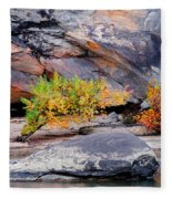Rock Shrub And Bluff At Cumberland Falls State Park Fleece Blanket
