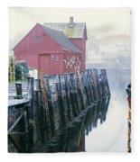 Rockport Harbor And Cages Fleece Blanket