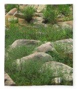 Rocks And Grass At Amidon Conservation Area Missouri Fleece Blanket