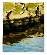 Rocks And Reflections On Ocean Fleece Blanket