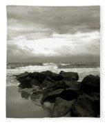 Rocks At Folly Beach Sc Fleece Blanket
