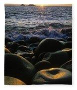 Rocks At The Coast, Giants Causeway Fleece Blanket