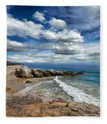 Rocky Coast In Malibu California Fleece Blanket