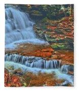 Rocky Pool Falls Fleece Blanket