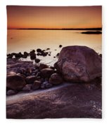 Rocky Shore At Twilight Fleece Blanket