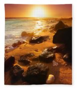 Rocky Shoreline In Hawaii Fleece Blanket