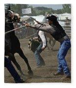 Rodeo Wild Horse Race Fleece Blanket